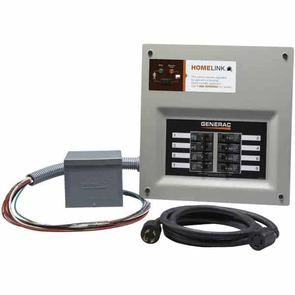 Generac 30 Amp Indoor Transfer Switch Kit For 8-10 Circuit Resin Pib + Conduit 30 Amp Plug Upgradeable Model #6853 1